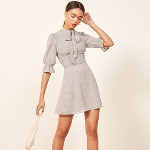 REFORMATION Cassie Dress Gray Plaid Front Tie